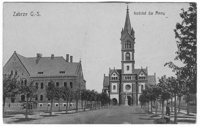 Koścół św. Anny w Zabrzu na widokówce